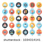 abstract vector set of colorful ... | Shutterstock .eps vector #1034314141