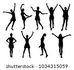 joyful woman silhouettes | Shutterstock .eps vector #1034315059