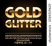 vector gold alphabet. chic set... | Shutterstock .eps vector #1034319625