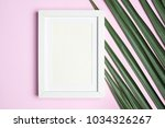 top view blank white photo... | Shutterstock . vector #1034326267
