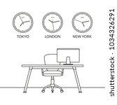 office interior design outline... | Shutterstock .eps vector #1034326291
