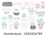 cute summer theme cactus.... | Shutterstock .eps vector #1034326789