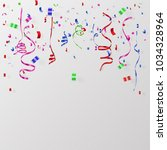 colorful confetti and ribbon... | Shutterstock .eps vector #1034328964