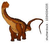 cute cartoon diplodocus.... | Shutterstock .eps vector #1034334235