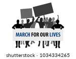 protest people crowd. march for ... | Shutterstock .eps vector #1034334265