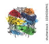 ornament face of line art lion...   Shutterstock .eps vector #1034336941
