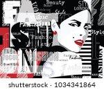 fashion woman in style pop art... | Shutterstock .eps vector #1034341864