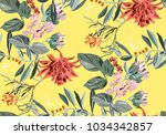 exotic jungle pattern with... | Shutterstock .eps vector #1034342857