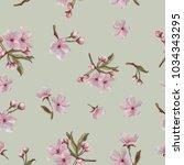 watercolor hand painted sakura... | Shutterstock . vector #1034343295