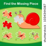 find the missing piece kids... | Shutterstock .eps vector #1034344387