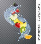 realistic water splash with... | Shutterstock .eps vector #1034346241