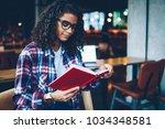 pensive african american... | Shutterstock . vector #1034348581