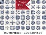 indigo blue azulejos pattern... | Shutterstock .eps vector #1034354689