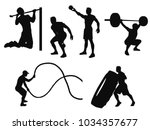 Silhouettes Of Man Working Out...