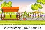 beautiful flower bed vector...   Shutterstock .eps vector #1034358415