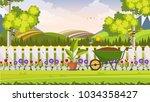 beautiful flower bed vector... | Shutterstock .eps vector #1034358427