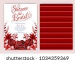 floral frame bridal shower... | Shutterstock .eps vector #1034359369