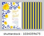 floral frame bridal shower... | Shutterstock .eps vector #1034359675