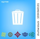 trash bin icon with shadow on a ... | Shutterstock .eps vector #1034360131