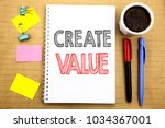 Small photo of Word, writing Create Value. Business concept for Creating Motivation Written on notepad paper background with space office view with pencil marker coffee