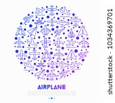 airplane concept in circle with ... | Shutterstock .eps vector #1034369701
