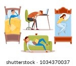 sleeping young woman at home... | Shutterstock .eps vector #1034370037