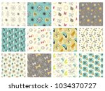 set of mid century modern... | Shutterstock .eps vector #1034370727