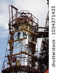 Small photo of Working altitude, build a factory, a tower of a petrochemical installation