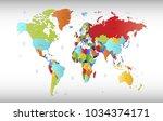 world map vector. | Shutterstock .eps vector #1034374171