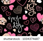 my dog lettering colour vector... | Shutterstock .eps vector #1034374687