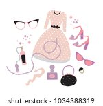 spring set with seasonal... | Shutterstock .eps vector #1034388319