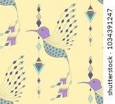 exotic aztec birds seamless... | Shutterstock .eps vector #1034391247