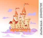 fairytale cartoon castle. cute... | Shutterstock .eps vector #1034392735
