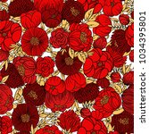 colorful floral seamless vector ... | Shutterstock .eps vector #1034395801