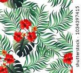 summer seamless jungle pattern. ... | Shutterstock .eps vector #1034397415