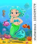little cute catoon mermaid with ... | Shutterstock .eps vector #1034399779