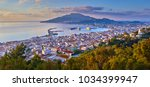 panoramic city and port view on ... | Shutterstock . vector #1034399947