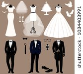 wedding card with the clothes... | Shutterstock . vector #1034403991