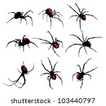 black widow spider set | Shutterstock .eps vector #103440797