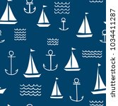 nautical seamless vector... | Shutterstock .eps vector #1034411287
