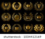beautiful gold wreathes set... | Shutterstock .eps vector #1034412169