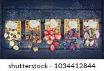 fresh crispy waffles with... | Shutterstock . vector #1034412844
