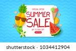 summer sale web banner. summer... | Shutterstock .eps vector #1034412904