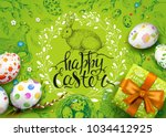 vector card with realistic 3d... | Shutterstock .eps vector #1034412925