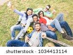 multiracial best friends taking ... | Shutterstock . vector #1034413114