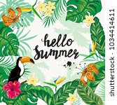 template card with tropical... | Shutterstock .eps vector #1034414611