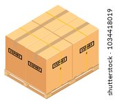 boxes on wooden pallet. ... | Shutterstock .eps vector #1034418019