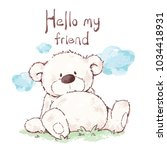 cute bear sitting  character... | Shutterstock .eps vector #1034418931