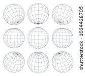 set of 3d spheres globe earth... | Shutterstock .eps vector #1034428705