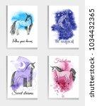 unicorn. watercolor vector... | Shutterstock .eps vector #1034432365